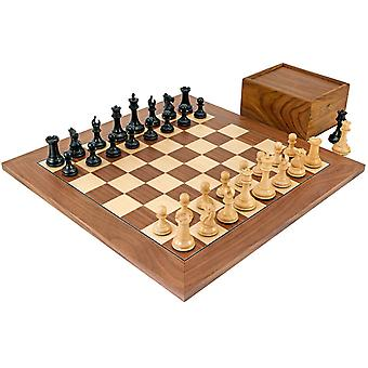 Sovereign Ebony and Walnut Chess Set with Case