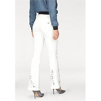 ARIZONA women's Bootcut jeans with embroidery short size White