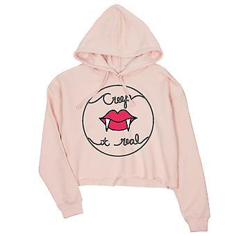 Creep It Real Womens Pink Crop Hoodie