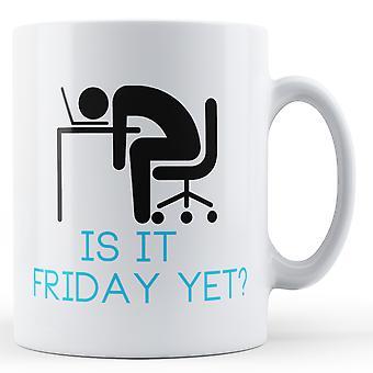 Decorative Writing Is It Friday Yet? Stick Man At Desk - Printed Mug