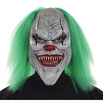 Evil Clown Horror Joker Sinister Creepy Mens Costume Latex Mask with Green Hair