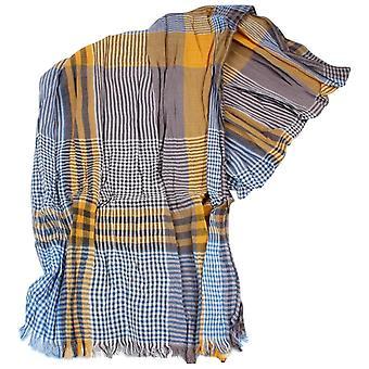 Knightsbridge Neckwear Gingham Cotton Scarf - Blue/Orange