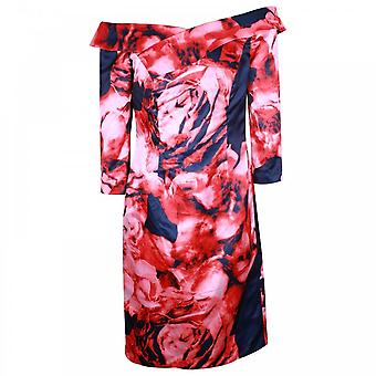 Veromia Occasions Floral Print Fitted 3/4 Sleeve Dress