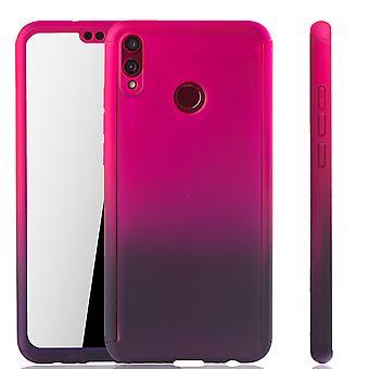Huawei Honor 8X Handy-Hülle Schutz-Case Cover Panzer Schutz Glas Pink / Violett