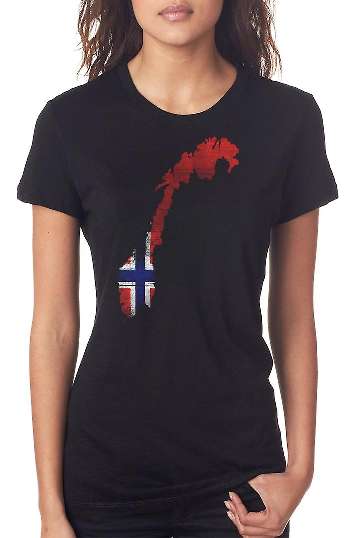 Norway Norwegian Flag Map Ladies T Shirt