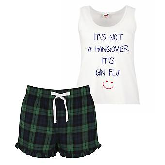 It's Not A Hangover It's Gin Flu Pyjamas Ladies Tartan Frill Short Pyjama Set Red Blue or Green Blue