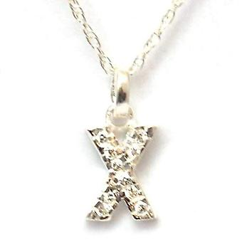 TOC Sterling Silver Clear Rhinestone Set Initial 'X' Pendant Necklace 18