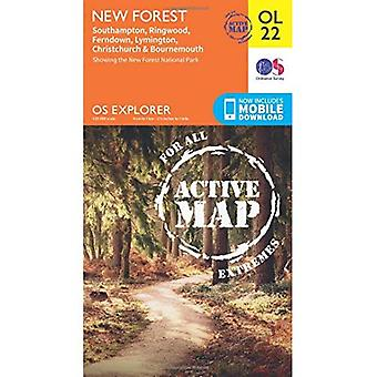 OS Explorer ACTIVE OL22 New Forest, Southampton, Ringwood, Ferndown, Lymington, Christchurch and Bournemouth (...
