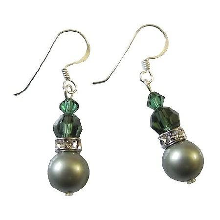 Party Favors Earrings in Subtle Green Swarovski Pearls Crystals
