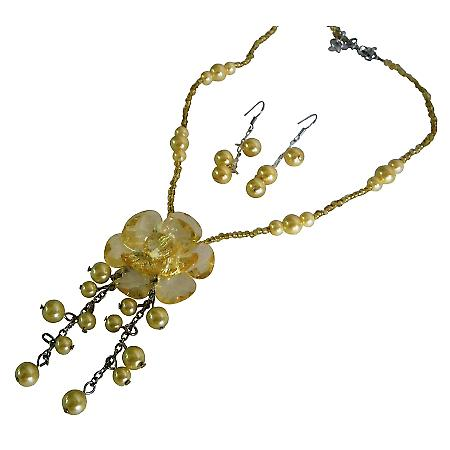 Wedding Jewelry Beautiful Flower Pendant Dangling Pearls Necklace Set