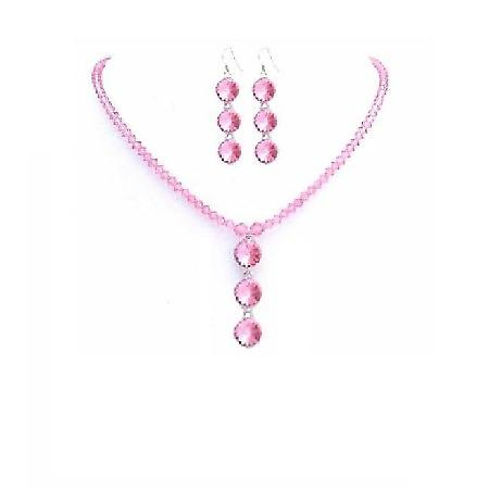 Swarovski Rose Pink Crystals Drop Down Pendant Handmade Necklace Set
