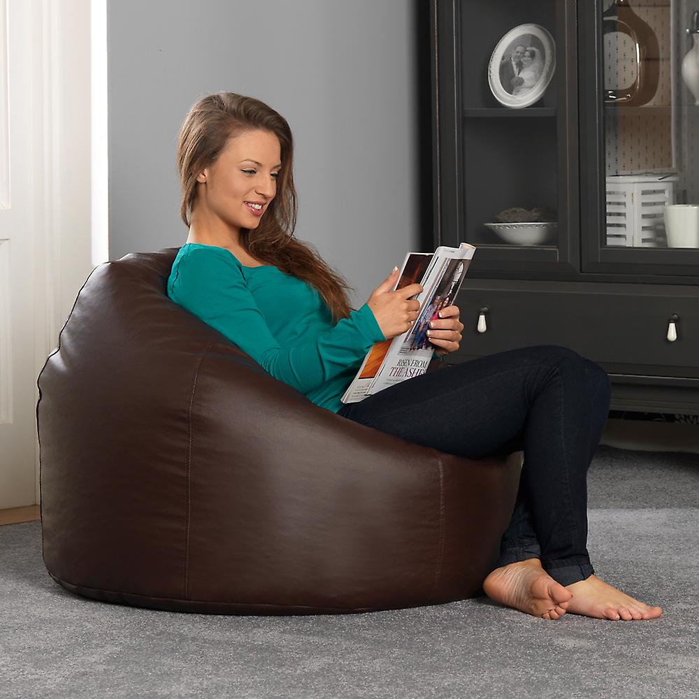 Bean Bag Bazaar® Faux Leather Classic Bean Bag Chair - Brown, Large, 82cm x 86cm