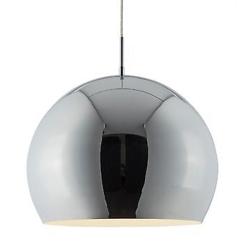 Ciondolo industriale grande cromato con interno bianco - Searchlight 3039CC