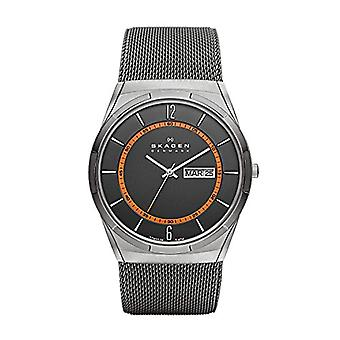 Skagen men's analog clock with metal plated stainless steel SKW6007