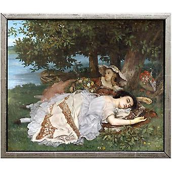 Med unge kvinner ved bredden av, Gustave Courbet, 61x51cm