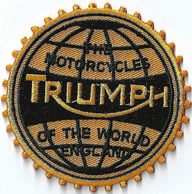 Triumph Motorcycles Of The World iron-on/sew-on cloth patch  (ff round)