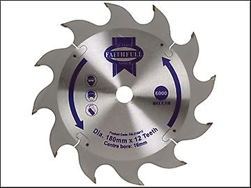 Faithfull Circular Saw Blade 180 x 16mm x 12T Fast Rip