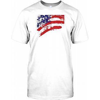USA stjärnor och ränder Grunge flagga effekt Mens T Shirt