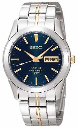 Seiko Midnight Blue Dial guld detalj rostfria SGGA61P1 Watch