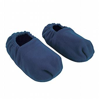 Fleece Wheat & Lavender Microwavable Slippers: Navy