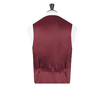 Dobell Mens Burgundy Paisley Waistcoat Regular Fit 5 Button Wedding