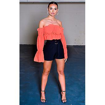 IKRUSH Womens Harper High Waist Paperbag Shorts