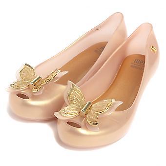 Melissa Shoes Mini Melissa Kids Ultragirl Butterfly Pumps,Soft Gold