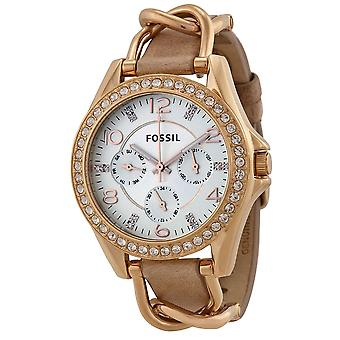 Fossil Riley Multifunction Rose Gold-Tone and Leather Ladies Watch ES3466