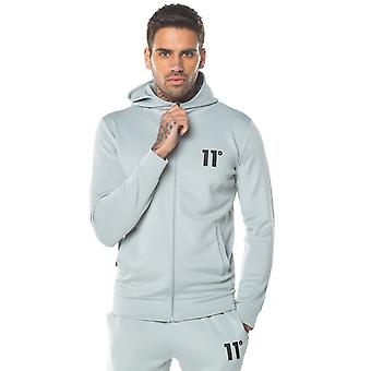11 Degrees Core Poly Full Zip Track Top With Hood - Pastel Green