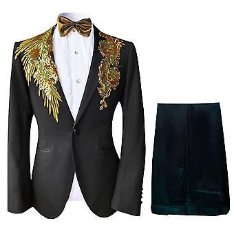 Allthemen Men's Tuxedos Suit 2-Pieces Danza Performance Suit Giacca&Pantaloni