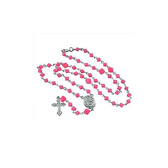Necklace with Silver ribbon pendant pink beads