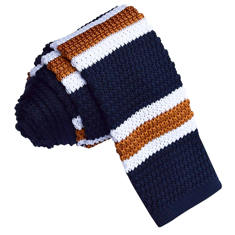 Knitted Navy with White & Copper Stripe Tie