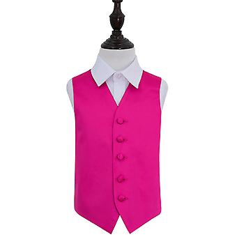 Boy's Hot Pink Plain Satin Wedding Waistcoat