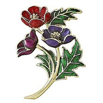 Fine Enamels Multi and Gold Plated Poppy Brooch