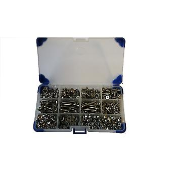 1020Pc Stainless Steel Countersunk Socket Setscrews With Washers and Nuts M3 3MM