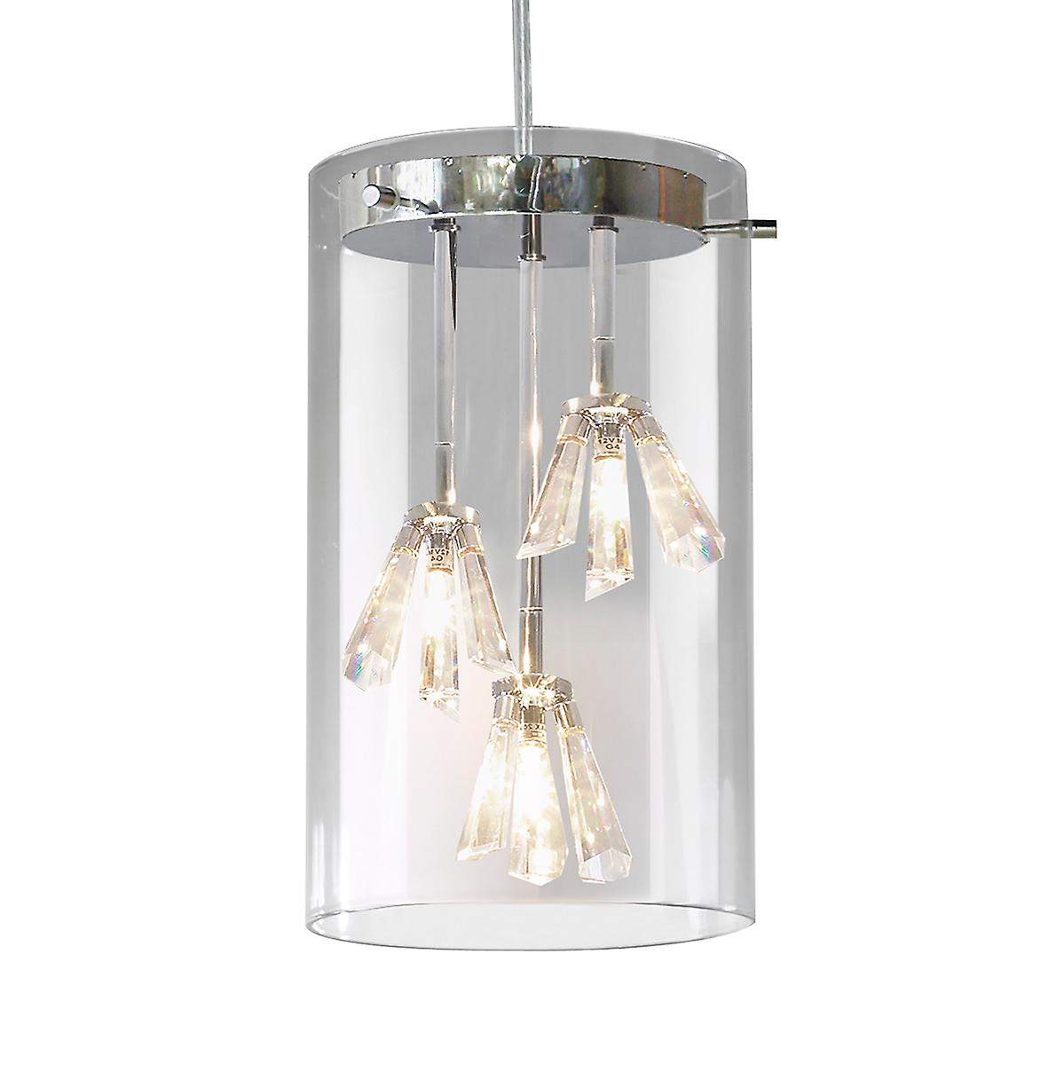 Dar SOM0350 Somerset Modern Polished Chrome 3 Light Pendant With Crystal Glass