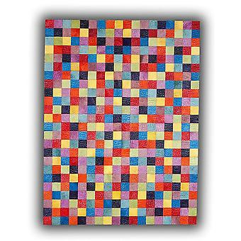 Rugs - Patchwork Leather Cubed Cowhide - Multi Rivoli