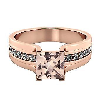 3.20 CTW natural peach/pink VS Morganite Ring with Diamonds 14k Rose Gold Bridge Vintage Princess