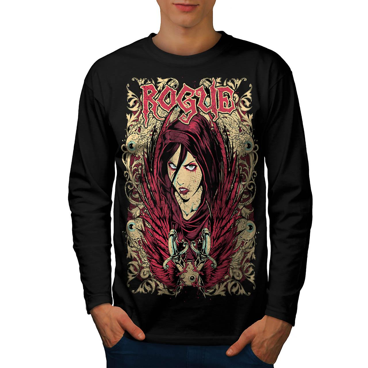 Rogue Girl Goth Fashion Men Black Long Sleeve T-shirt | Wellcoda