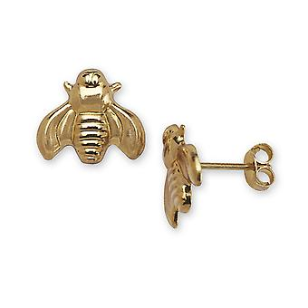 14k Yellow Gold Bee Stamping Children Earrings - Measures 9x10mm