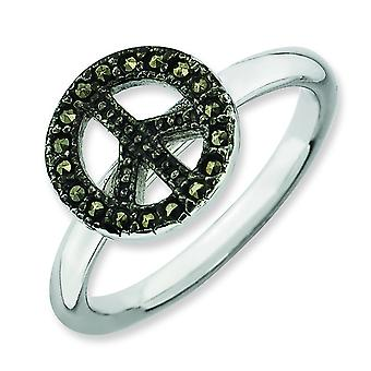 2.25mm Sterling Silver Stackable Expressions Marcasite Peace Sign Ring - Ring Size: 5 to 10