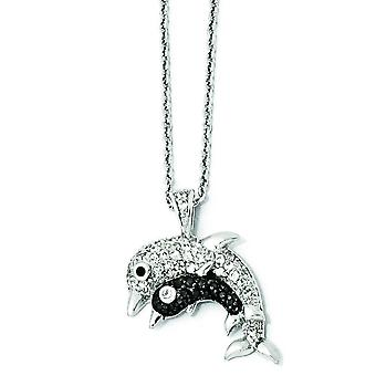 Sterling Silver CZ and Rhodium Dolphins 18 Inch Necklace - 18 Inch
