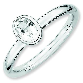 Sterling Silver Stackable Expressions Oval White Topaz Ring - Ring Size: 5 to 10