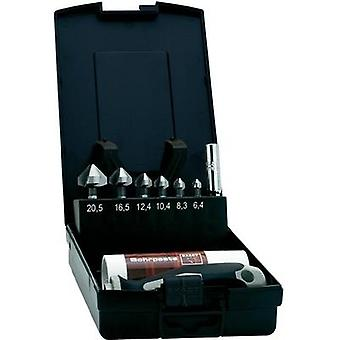 Countersink set 8-piece 6.3 mm, 8.3 mm, 10.4 mm, 12.4 mm, 16.5 mm, 20.5 mm HSS Exact 1605649 1/4 (6.3 mm) 1 Set