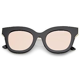 Oversize Slim Temple Metal Square Mirrored Flat Lens Cat Eye Sunglasses 48mm
