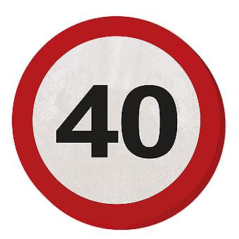 Napkin traffic sign number 40 20 St. sign birthday party