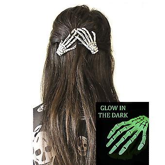 Darkworld - skeleton hands hairclips - glow in the dark