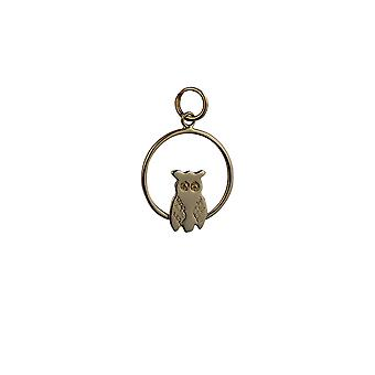 9ct Gold 18x19mm Owl in a circle Pendant or Charm
