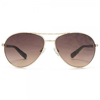 SUUNA Saskia Aviator Sunglasses In Shiny Pale Gold