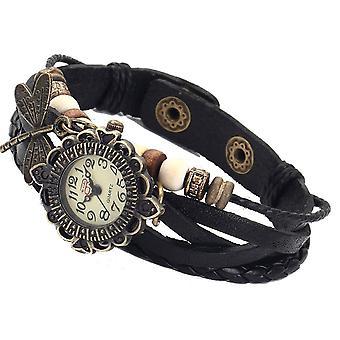 Boolavard® TM Libelle Quarz Mode weben Wrap-around-Leder-Armband-Frauen-Armbanduhr